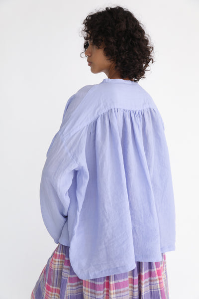 Ichi Antiquites Linen Shirt in Lavender on model view back