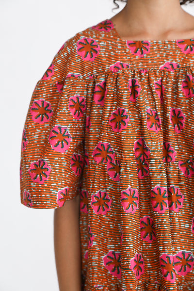 Odile Jacobs Wax Cotton Flounce Dress Long in Pink Flower sleeve detail view
