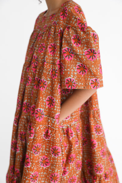 Odile Jacobs Wax Cotton Flounce Dress Long in Pink Flower pocket detail view