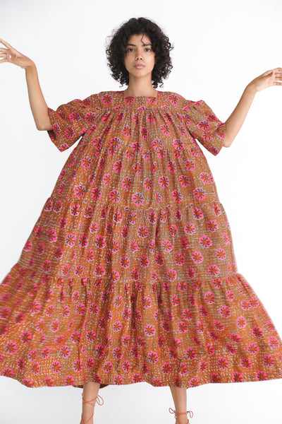 Odile Jacobs Wax Cotton Flounce Dress Long in Pink Flower on model view front
