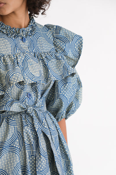 Odile Jacobs Wax Cotton Dress with Buttons and Ruffles in Blue sleeve detail view
