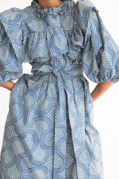 Odile Jacobs Wax Cotton Dress with Buttons and Ruffles in Blue ruffle detail view front