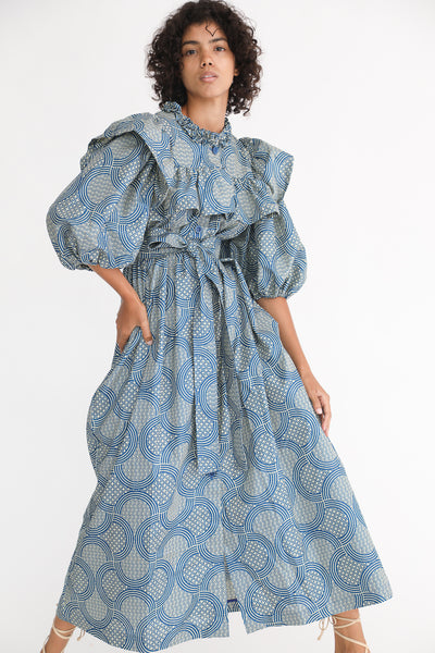 Odile Jacobs Wax Cotton Dress with Buttons and Ruffles in Blue on model view front
