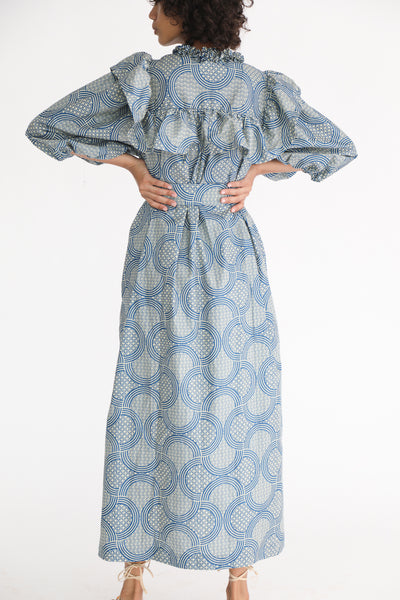Odile Jacobs Wax Cotton Dress with Buttons and Ruffles in Blue on model view back