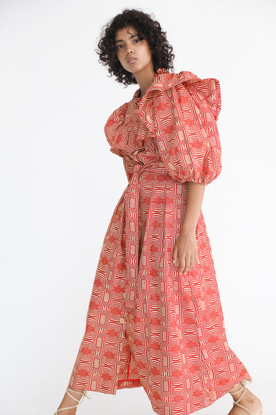 Odile Jacobs Wax Cotton Dress with Buttons and Ruffles in Red on model view side