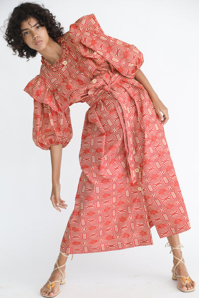 Odile Jacobs Wax Cotton Dress with Buttons and Ruffles in Red on model view front