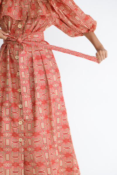 Odile Jacobs Wax Cotton Dress with Buttons and Ruffles in Red belt detail view