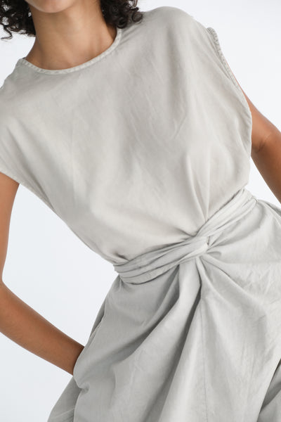 Cosmic Wonder Beautiful Organic Cotton Satin Tank Top Wrapped Dress in Light Sumikuro front waist twist detail view