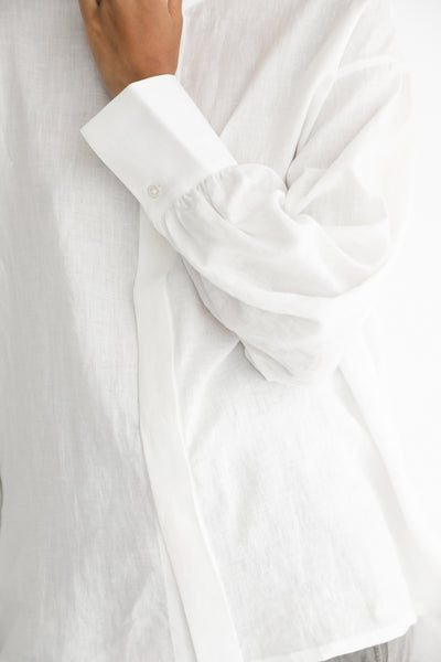 Cosmic Wonder Beautiful Belgium Linen European Shirt in White sleeve cuff detail view
