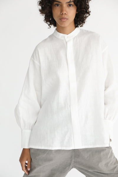 Cosmic Wonder Beautiful Belgium Linen European Shirt in White on model view front
