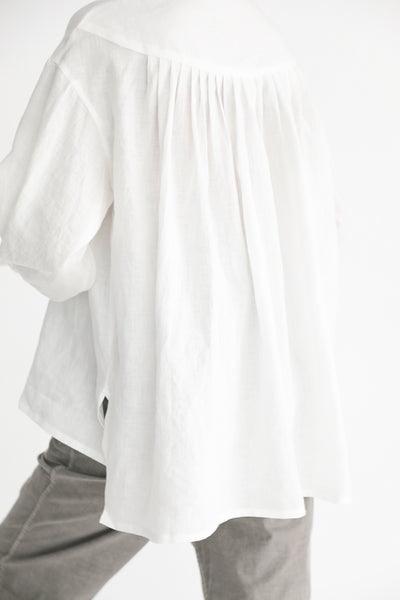 Cosmic Wonder Beautiful Belgium Linen European Shirt in White on model view back