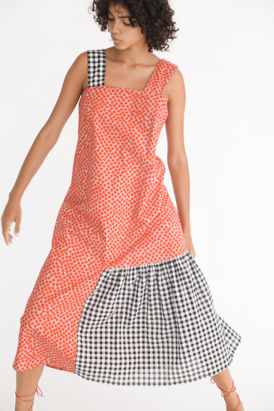 Correll Correll Rocco Strap Dress in Square Print on model view front