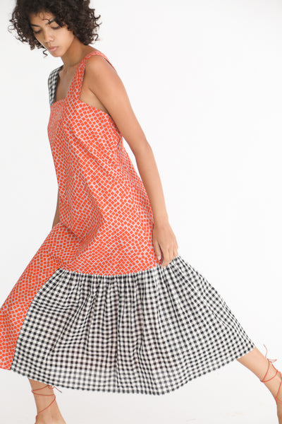 Correll Correll Rocco Strap Dress in Square Print on model view side