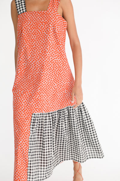 Correll Correll Rocco Strap Dress in Square Print gingham panel detail view