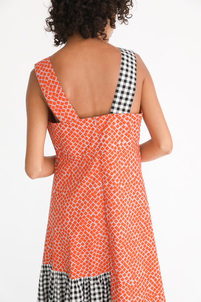 Correll Correll Rocco Strap Dress in Square Print on model view back