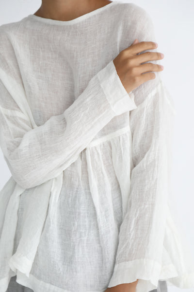 Ichi Antiquites Linen Pullover in White sleeve detail view
