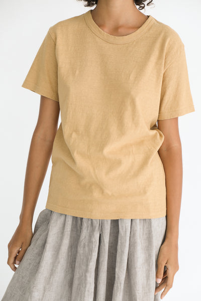Ichi Antiquites Cotton T-Shirt in Beige on model view front