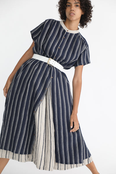 Ichi Antiquites Linen Dress in Navy Stripe on model view front