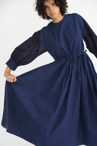Cosmic Wonder Beautiful Organic Cotton Monastery Dress in Ryukyu Indigo on model view front