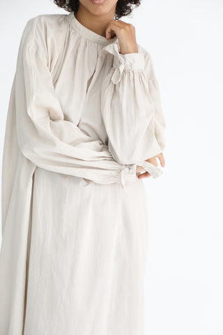 Cosmic Wonder Beautiful Organic Cotton Ritual Long Dress in Ancient Clay sleeve detail view