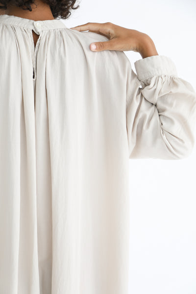Cosmic Wonder Beautiful Organic Cotton Ritual Long Dress in Ancient Clay back neckline detail view