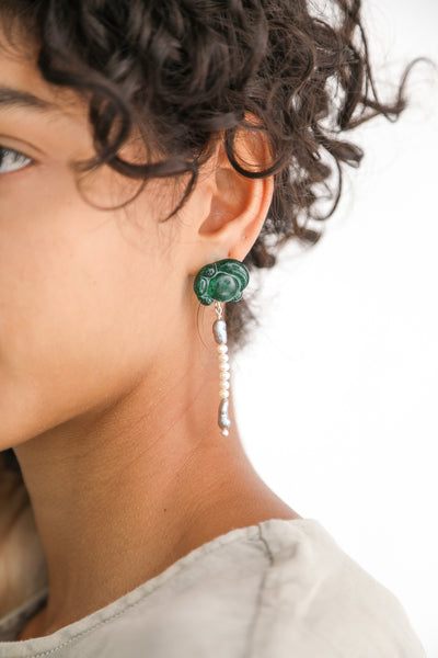Leigh Miller  Sea Glass Earrings - Hand-Cast Artisan Glass in Freshwater Pearls on model view