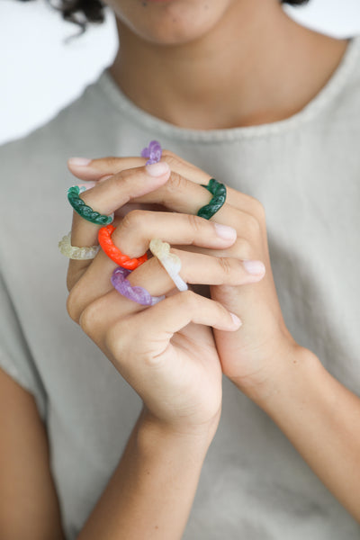 Leigh Miller Half-Twist Glass Ring - Hand-Cast Artisan Glass in Sunshine/Opal on model view