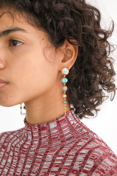 Grainne Morton Multi-Drop Victorian Earrings on model view