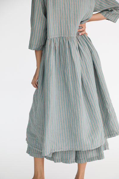 Ichi Antiquites Linen Dress in Green Stripe back skirt detail view