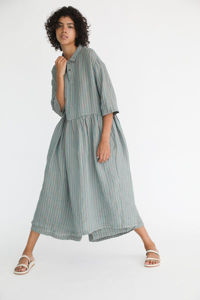Ichi Antiquites Linen Dress in Green Stripe on model view front