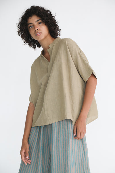 Ichi Antiquites Cotton/Linen Pullover in Beige on model view side