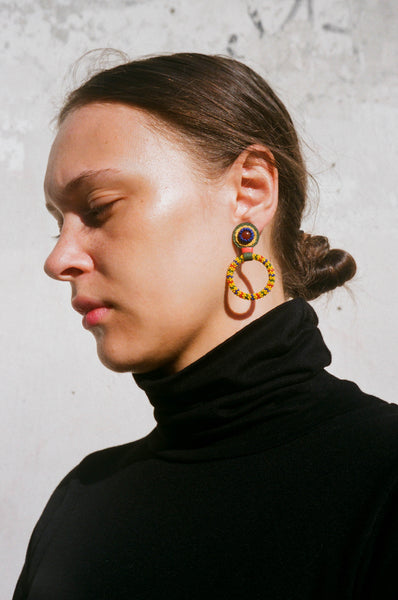 Robin Mollicone Small Hoop Carnelian /Yellow Multi Earring | Oroboro Store | Brooklyn, New York