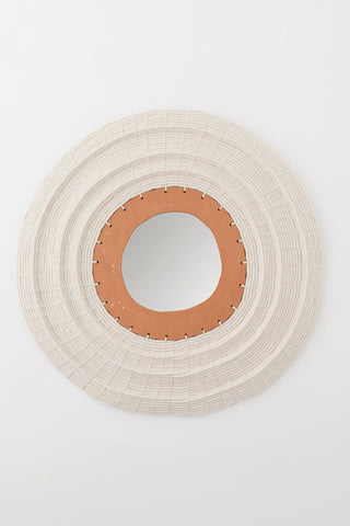 Karen Tinney Mirror #602 in Terracotta & White