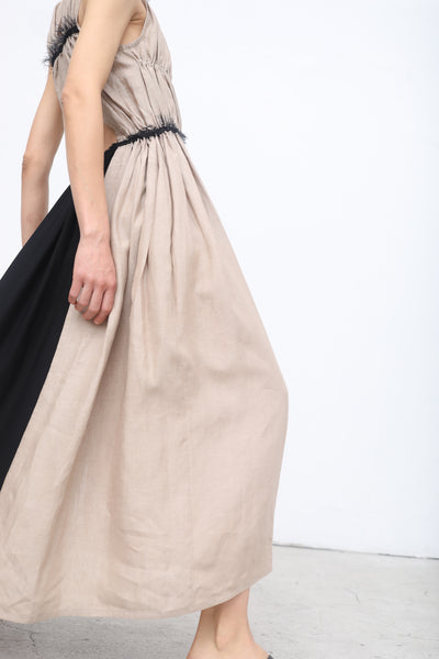 Yulia Kondranina Gathered Dress with Contrast Open Back in Sand/Black | Oroboro Store | New York, NY