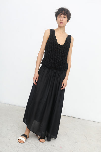Twisted Rib Hand Knitted Dress with Contrast Back in Black/Sand