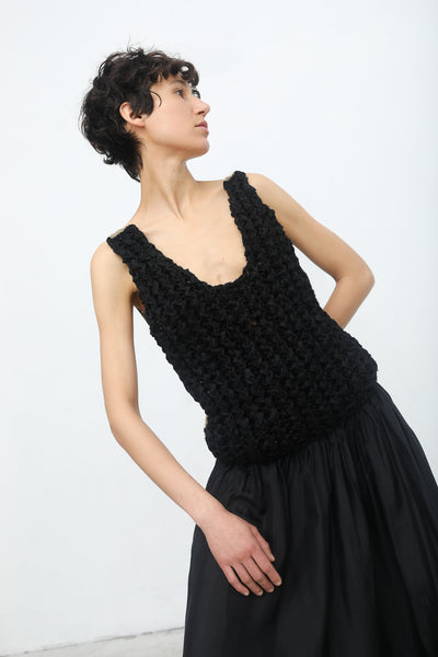 Yulia Kondranina Twisted Rib Hand Knitted Dress with Contrast Back in Black/Sand | Oroboro Store | New York, NY