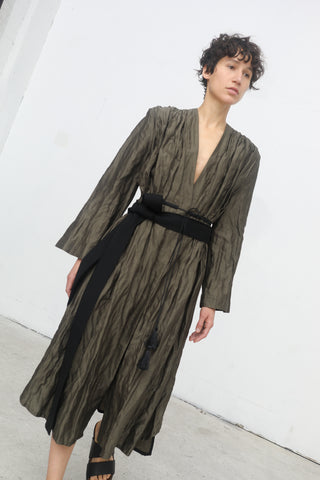 Yulia Kondranina Gathered Coat with Metallic Thread in Olive Green | Oroboro Store | New York, NY