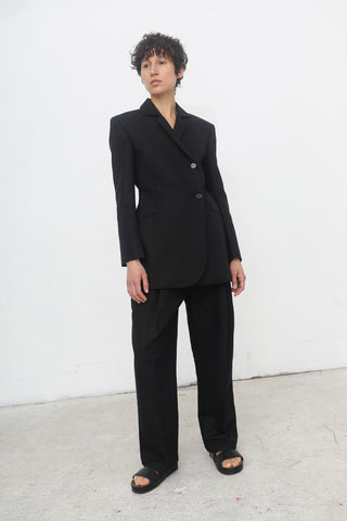 Yulia Kondranina High Waisted Linen Trousers with Belt in Black | Oroboro Store | New York, NY