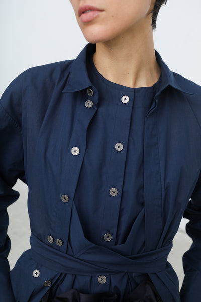 Nehera Buca Washed Poplin Blouse in Dark Blue | Oroboro | New York, NY