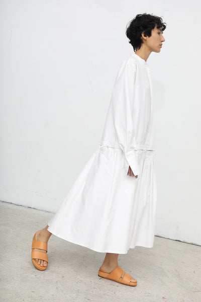 Nehera Dawn Cotton Silk Twill Dress in Off White | Oroboro | New York, NY