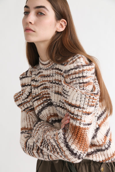 Ulla Johnson Daphne Pullover in Tapir shoulder pleat detail view side