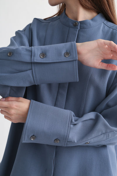 Rito Big Shirt - Wool Double Cloth in Blue cuff detail