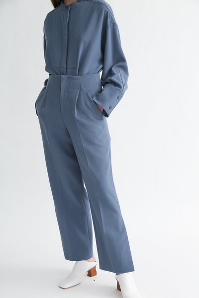 Rito Pants - Double Cloth Wool in Blue on model view front