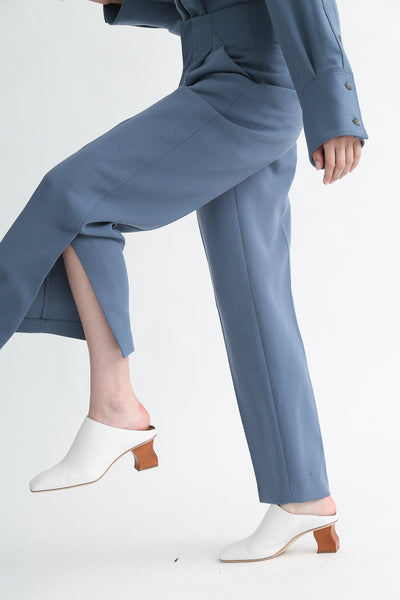 Rito Pants - Double Cloth Wool in Blue ankle slit detail