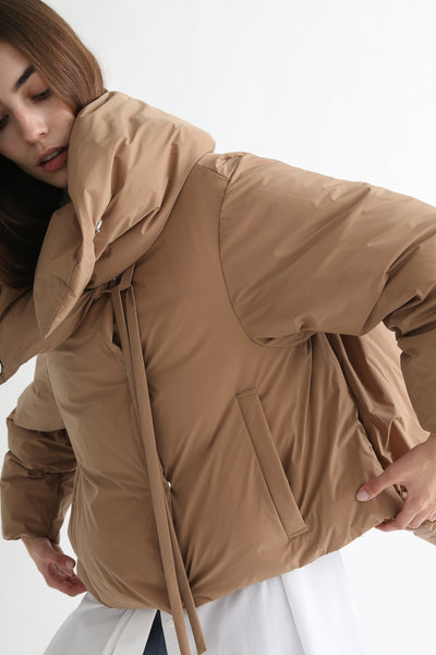 tretch Short Down Coat - Nylon Two Way Taffeta in Camel front opening detail view