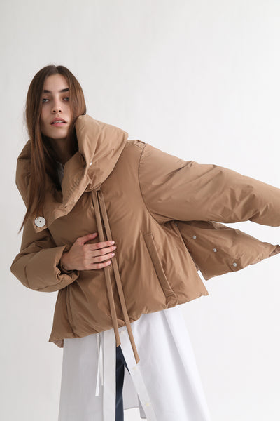 tretch Short Down Coat - Nylon Two Way Taffeta in Camel on model view side