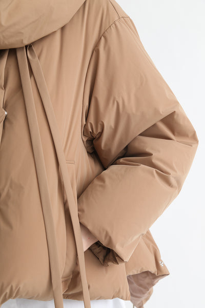 tretch Short Down Coat - Nylon Two Way Taffeta in Camel pocket detail view