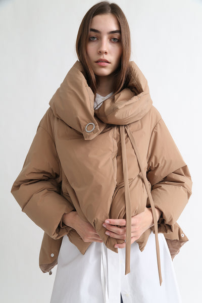 tretch Short Down Coat - Nylon Two Way Taffeta in Camel on model view front