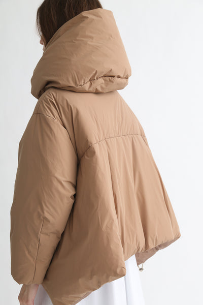 tretch Short Down Coat - Nylon Two Way Taffeta in Camel on model view back