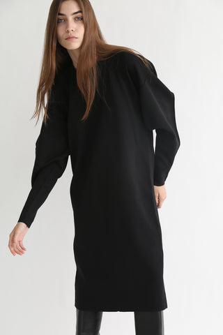 Rito Round Neck Poly Dress in Black on model view front